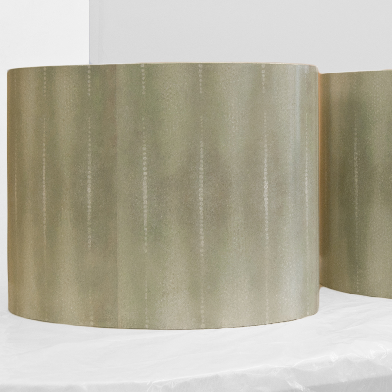 Custom end tables in Faux Shagreen
