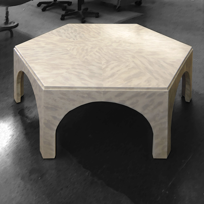 Custom table in white Faux Tortoise