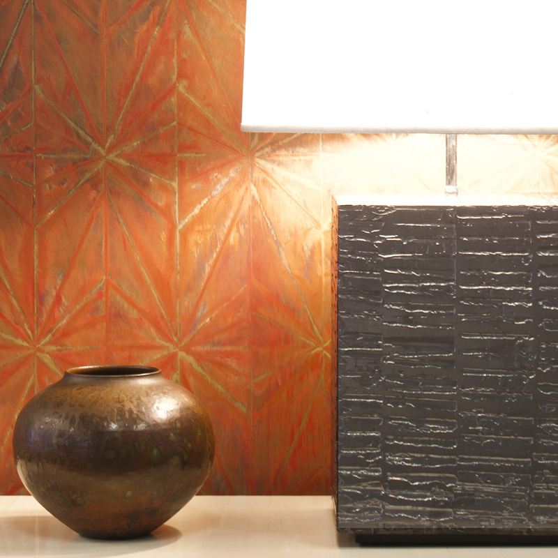 Surface Lamp in Tooled Gesso Tony