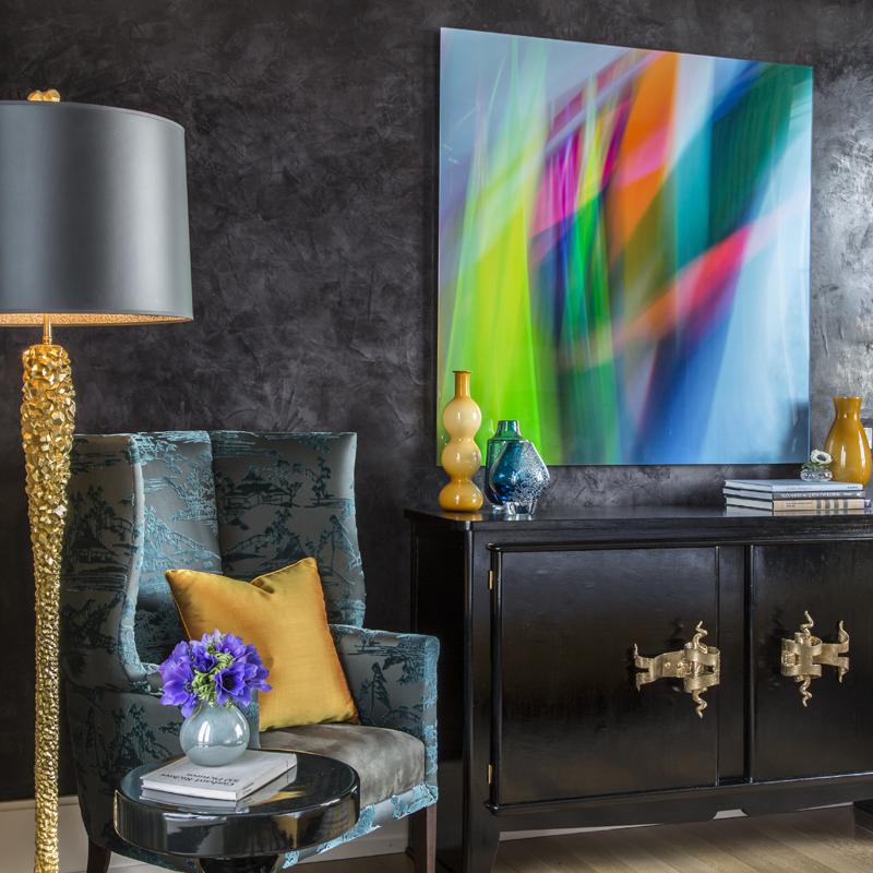 Eden Roc Grande Lamp in gold | Venetian Plaster walls in dark gray  | interior by Drake/Anderson Design