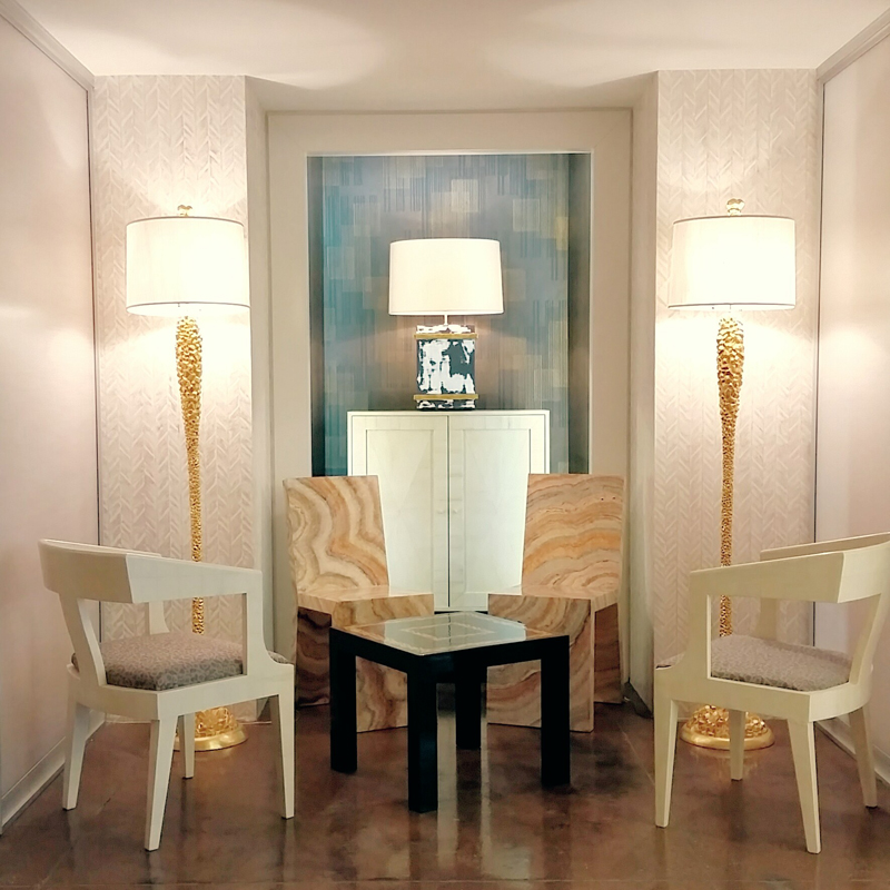Imperial Surface Chairs in Faux Ivory | Classic Surface Chairs in Faux Agate | Small Surface Cabinet in Faux Bois | Eden Roc Grande Lamps in gold leaf | Small Parsons table in 2-color Negoro Nuri