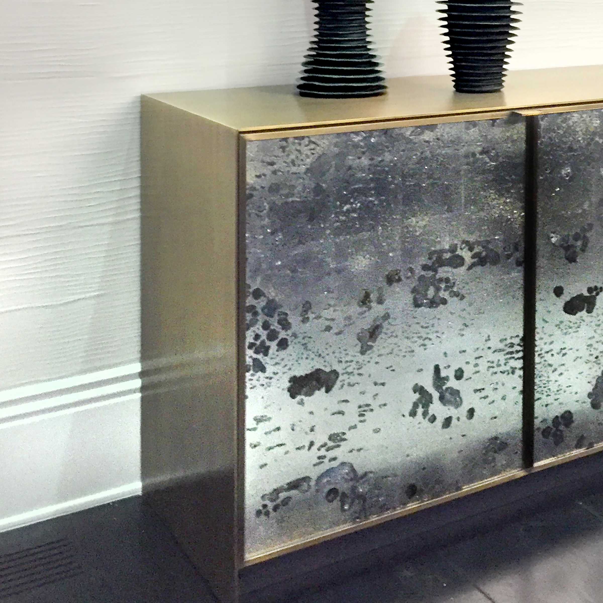 Custom Verre Eglomise buffet doors | interior by Drake/Anderson Design