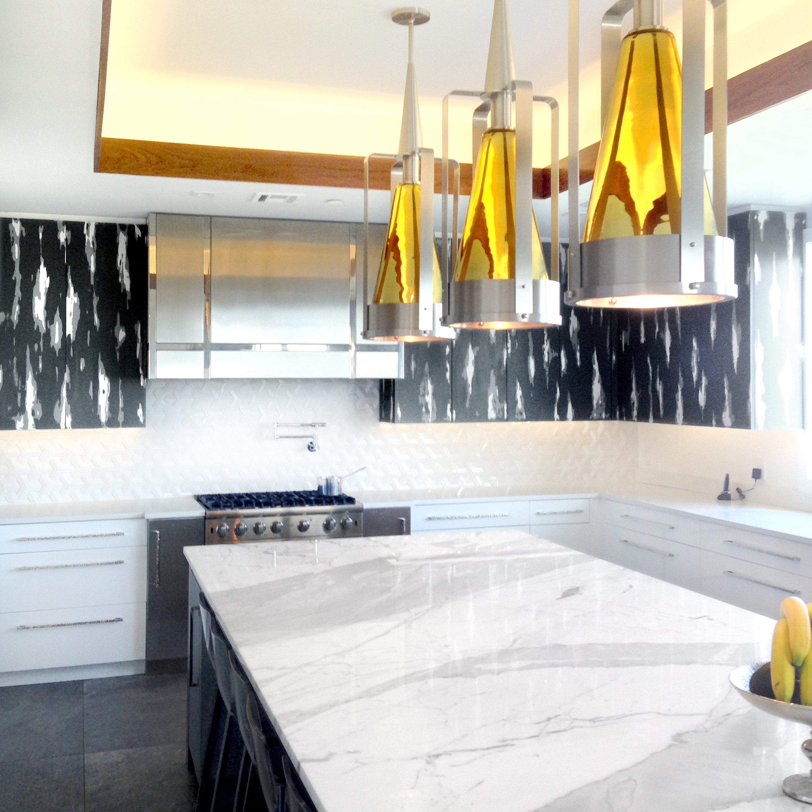 Custom Negoro Nuri cabinet doors in residential kitchen  | interior by Drake/Anderson Design